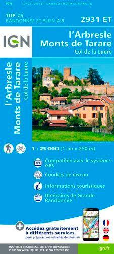 IGN - L'Arbresle, Monts de Tarare, Col de la Luère - 1/25 000.