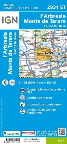 L'Arbresle, Monts de Tarare, Col de la Luère. 1/25 000