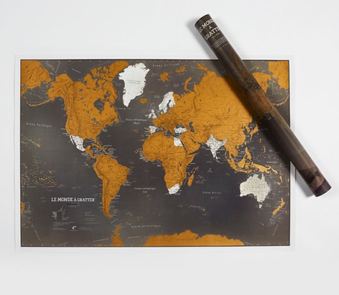Maps International - Le monde à gratter - Black edition.