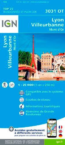 IGN - Lyon Villeurbanne Mont d'Or - 1/25 000.