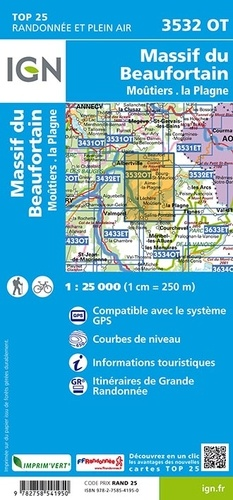 Massif du Beaufortain Moûtiers La Plagne. 1/25 000