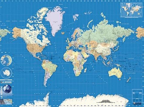 Blay-Foldex - Monde physique et politique 132 x 98 cm - Carte plastifiée 1/32 500 000.