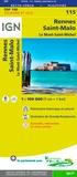 IGN - Rennes, Saint-Malo, Le Mont-Saint-Michel - 1/100 000.