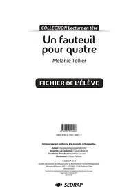 Mélanie Tellier - Français primaire Lecture en tête Un fauteuil pour quatre - Le fichier de l'élève.