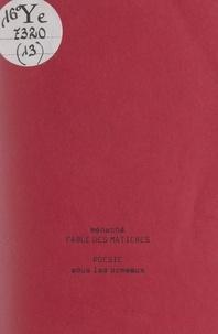 Ménaché et Christian Biancardini - Fable des matières.