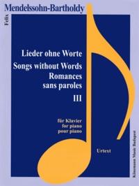 Coachingcorona.ch Mendelssohn-Bartholdy - Romances sans paroles III - pour piano - Partition Image
