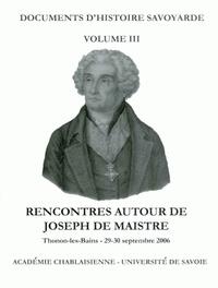 Michael Kohlhauer - Rencontres autour de Joseph de Maistre - Thonon, 29-30 septembre 2006.