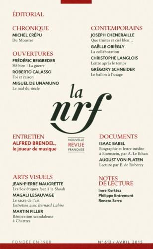 La Nouvelle Revue Française N° 612, avril 2015
