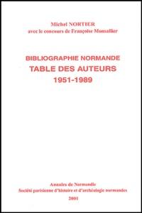 Michel Nortier - Table des auteurs de la bibliographie normande annuelle, 1951-1989.