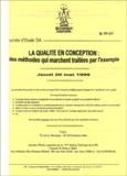 Michel Vigier et Christiane Rosiaux - La qualité en conception  : des méthodes qui marchent traitées par l'exemple - Journées d'étude SIA jeudi 20 mai 1999.