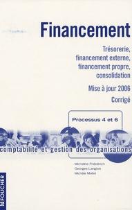 Micheline Friédérich et Stéphane Langlois - Financement Processus 4 et 6 Comptabilité et gestion des organisations - Trésorerie, financement externe, financement propre, consolidation Corrigé.
