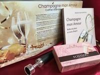 Michelle Jean-Baptiste - Champagne mon amour - 1 livre, 1 bouchon vide-air, 1 carré de satin, 1 étui de 5 mini-biscuits rose de Reims.