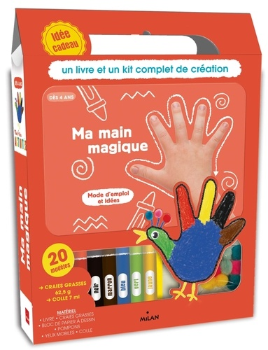 Milan jeunesse - Ma main magique - Avec 1 bloc de papier à dessin, 6 craies grasses, 20 yeux mobiles, 10 pompons et 1 tube de colle.