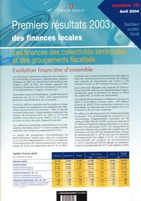 Ministère de l'Economie - Premiers résultats 2003 des finances locales.