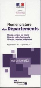 Ministère du Budget - Nomenclature des départements - Instruction M52.