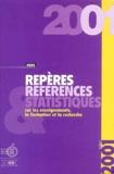 Ministère Education Nationale - Repères et références statistiques sur les enseignements, la formation et la recherche - Edition 2001.