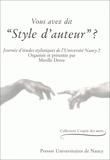 """Mireille Dereu - Vous avez dit """"style d'auteur"""" ?."""
