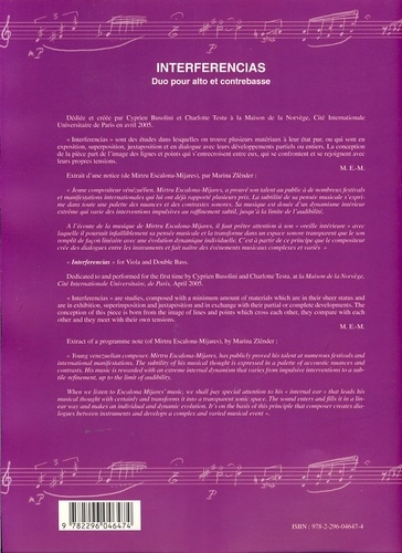 Interferencias. Duo pour alto et contrebasse