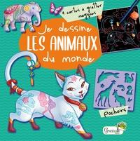 Miss Holly - Je dessine les animaux du monde - Avec 4 cartes à gratter magiques, des pochoirs et un crayon.