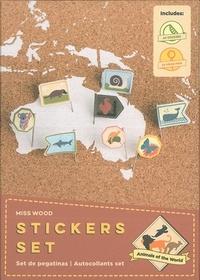 Miss Wood - Stickers animaux du monde - 64 épingles et 64 stickers.