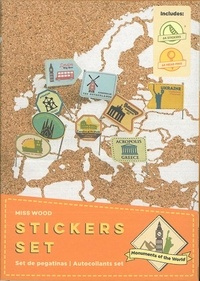 Miss Wood - Stickers momuments du monde - 64 épingles et 64 stickers.
