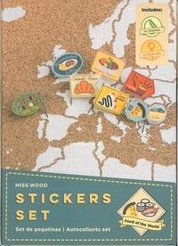 Miss Wood - Stickers nourriture du monde - 64 épingles et 64 stickers.