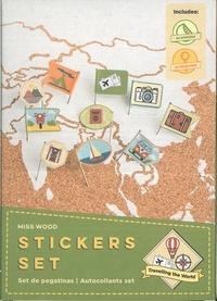 Miss Wood - Stickers parcourir le monde - 64 épingles et 64 stickers.