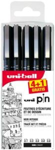 MITSUBISHI PENCIL FRANCE - Pochette 4 feutres Uni Pin + 1 gratuit - mines de 0,05/0,2/0,4/0,5/0,7