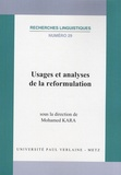 Mohamed Kara - Usages et analyses de la reformulation.