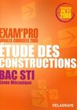 N Peyret et A Chabert - Etude des constructions Bac STI génie mécanique - Annales corrigées.