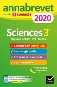 Téléchargement de livre en français Annales du brevet Annabrevet 2020 Sciences (Physique-chimie SVT Technologie) 3e  - 54 sujets corrigés 9782401057173 RTF
