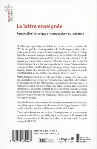 La lettre enseignée. Perspective historique et comparaison européenne