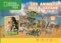 National Geographic Kids - Les animaux de la savane - Un magnifique livre illustré, 12 animaux à découvrir, un kit facile à assembler pour t'amuser.