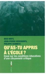 Nico Hirtt et Jean-Pierre Kerckhofs - Qu'as-tu appris à l'école ? - Essai sur les conditions éducatives d'une citoyenneté critique.