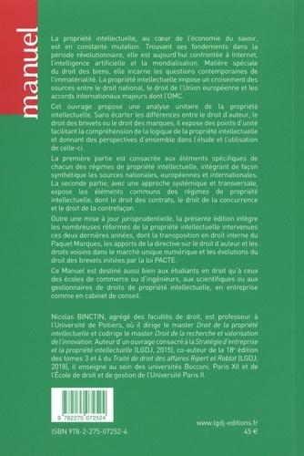 Droit de la propriété intellectuelle. Droit d'auteur, brevet, droits voisins, marque, dessins et modèles 6e édition