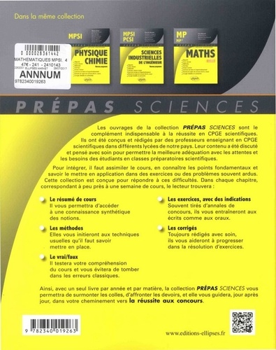 Mathématiques MPSI 4e édition