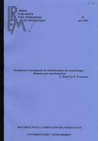 Nicolas Pouyanne et Aline Robert - Formateurs d'enseignants de mathématiques du second degré : éléments pour une formation.