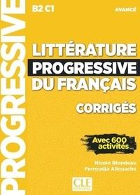 Littérature progressive du français B2 C1 avancé- Corrigés avec 600 activités - Nicole Blondeau | Showmesound.org