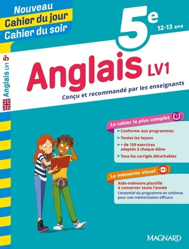 Cahier du jour/Cahier du soir Anglais LV1 5e + mémento  Edition 2019