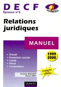 Histoiresdenlire.be DECF épreuve n° 2 Relations juridiques. Edition 1999/2000 Image