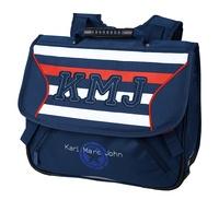 OBERTHUR - Cartable Little Karl Marc John Marine rayures bleu, blanc et rouge - 38cm