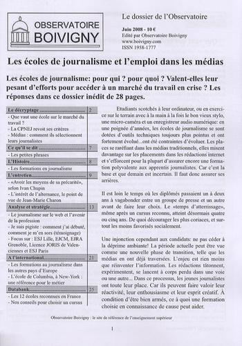 Observatoire Boivigny - Les écoles de journalisme et l'emploi dans les médias.