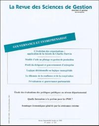 Alice Guilhon et Rénata Labbé - La Revue des Sciences de Gestion N° 204 Novembre-Déce : Gouvernance et entreprenariat.