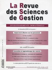Patrick Valéau et Christel Dubrulle - La Revue des Sciences de Gestion N° 217, Janvier-févr : Investissements immatériels.
