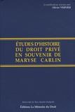Olivier Vernier - Etudes d'histoire du droit privé en souvenir de Maryse Carlin.