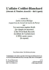 Ouvrage Collectif et Paul Melchior - L'affaire Cotillot-Blanchard - Avocats & Notaires Associés (tiré à part).
