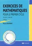 Pascal Dupont - Exercices de mathématiques pour le premier cycle - Volume 2, Analyse.