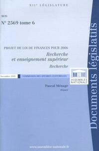 Pascal Ménage - Recherche et enseignement supérieur - Projet de Loi de finances pour 2006.