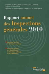 Pascal-Raphaël Ambrogi et Paul Mathias - Rapport annuel des Inspections générales 2010.