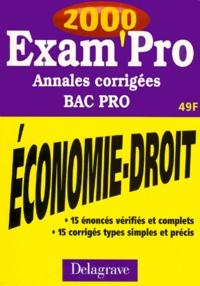 ECONOMIE DROIT BAC PRO SECTEUR TERTIAIRE. Annales corrigées 2000 - Patrice Barthélémi | Showmesound.org